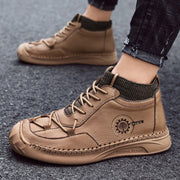 Men's Casual Breathable Leather Comfy Soft Sock Ankle Boots