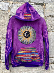 Purple Printed Boho Hoodie Tribal Sweatshirt