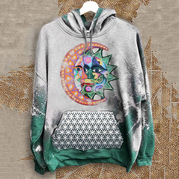 Men's casual tribal style sun hooded printed sweater