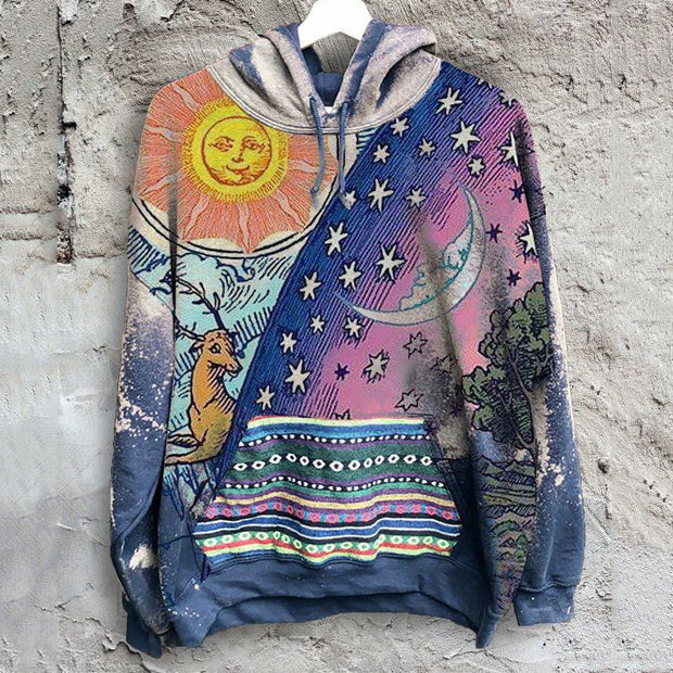 Men's casual tribal style star sun and moon hooded sweater