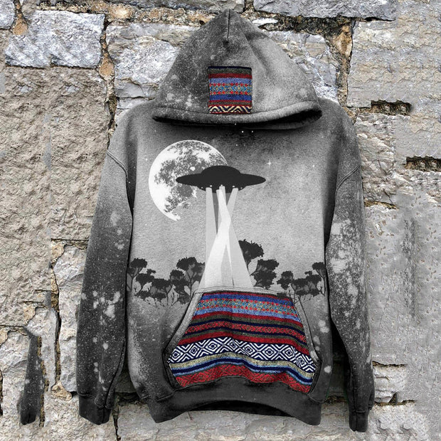 Men's casual tribal style alien future printed hooded sweatshirt