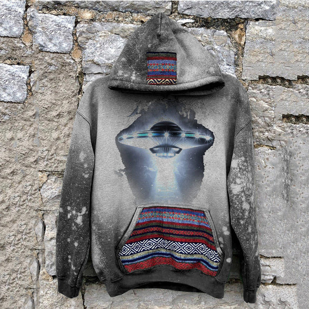 Men's casual tribal style future alien print hooded sweatshirt