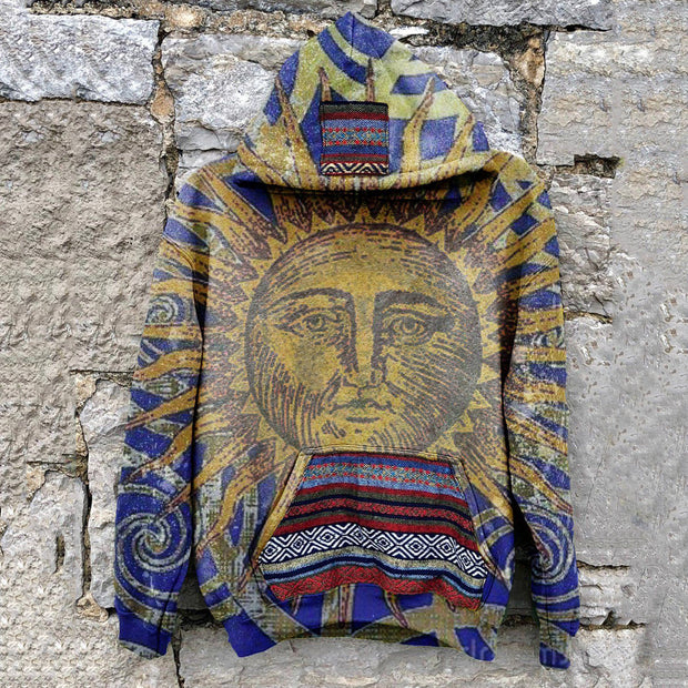 Men's casual tribal wind sun god print hooded sweatshirt