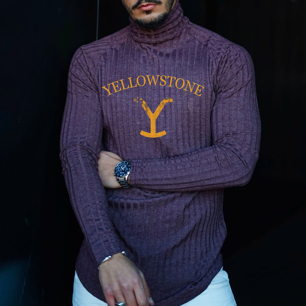 Men's Turtleneck Knit Yellow Stone Print Pullover