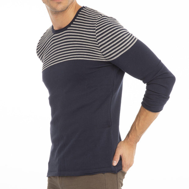 Men's Striped Knitted Long Sleeve Top