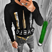 Men's Knitted Print Long Sleeve Pullover