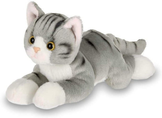 Lil' Socks Small Plush Stuffed Animal Gray Striped Tabby Cat, Kitten 8 inches