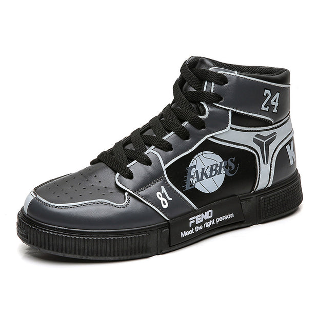 Men's Plus Size Graffiti Design High-top Casual Leather Boots
