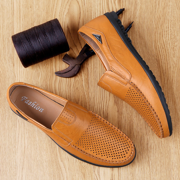 Men's Hollow Retro Comfortable Loafers Leather Shoes