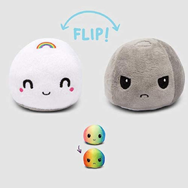 The Original Reversible Cloud Plushie Patented Design | Storm and Rainbow | Show Your Mood Without Saying a Word!