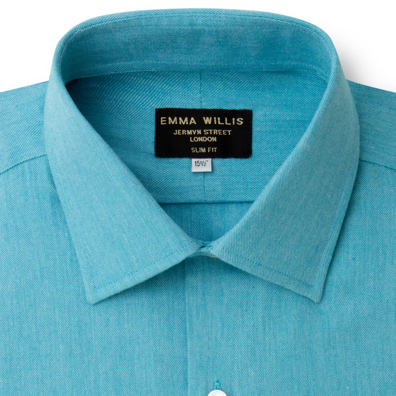 Aqua Brushed Cotton shirt - Bespoke