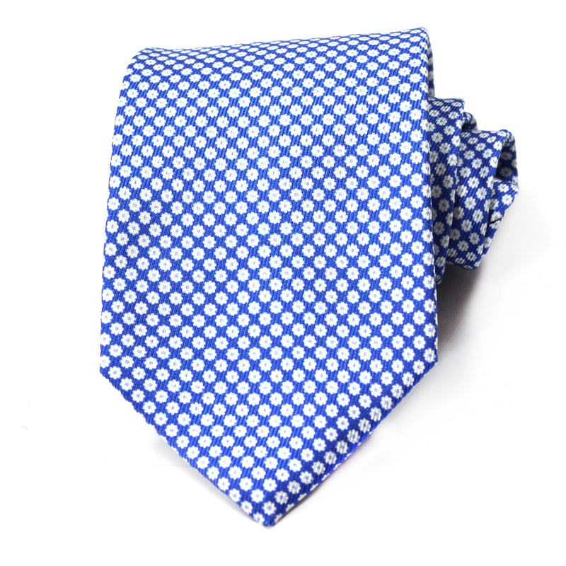 Blue Dainty Flower Silk Tie