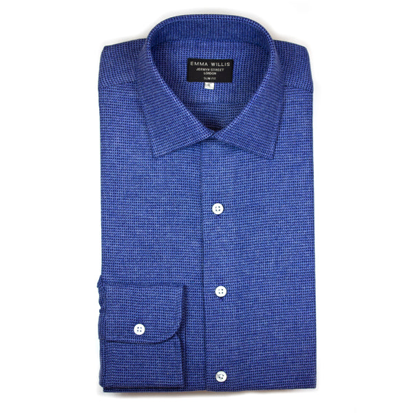 Blue/Navy Basket Weave Brushed Cotton shirt - Bespoke