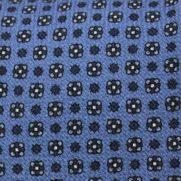 Blue Floral Tile Wool Tie