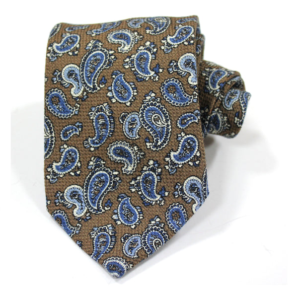 Brown Paisley Wool Tie