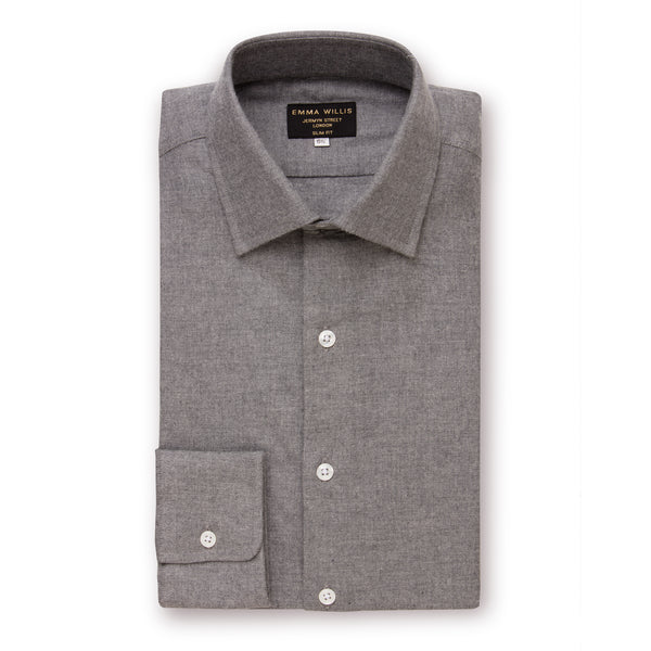 Charcoal Brushed Cotton Shirt - Classic Fit