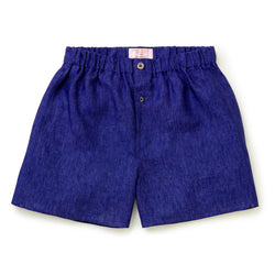 Cobalt Linen Boxer Shorts - Slim Fit