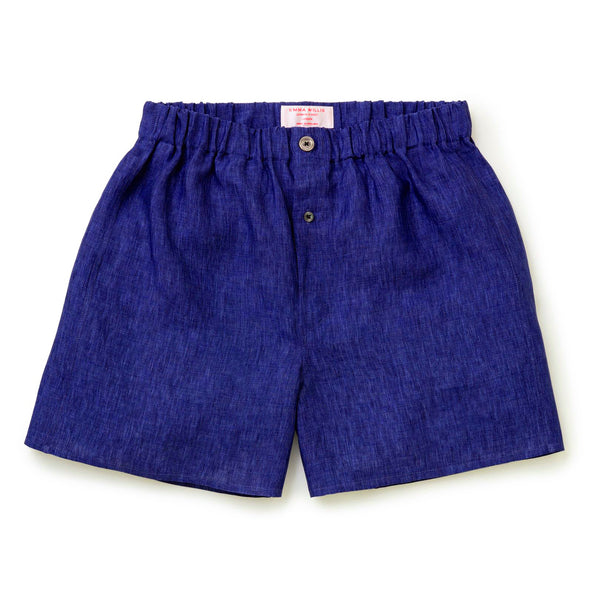 Cobalt Linen Boxer Shorts - Slim Fit - New