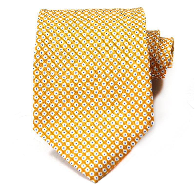 Gold Dainty Flower Silk Tie