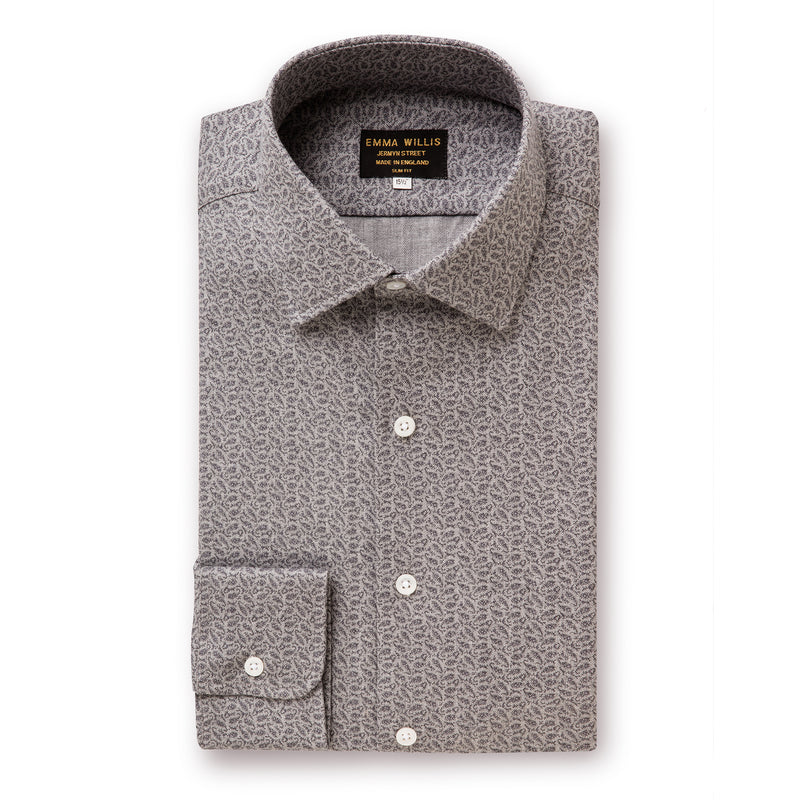 Grey Paisley Brushed Cotton Shirt - Slim Fit