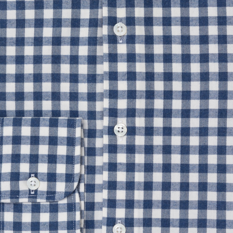 Navy Gingham Brushed Cotton shirt