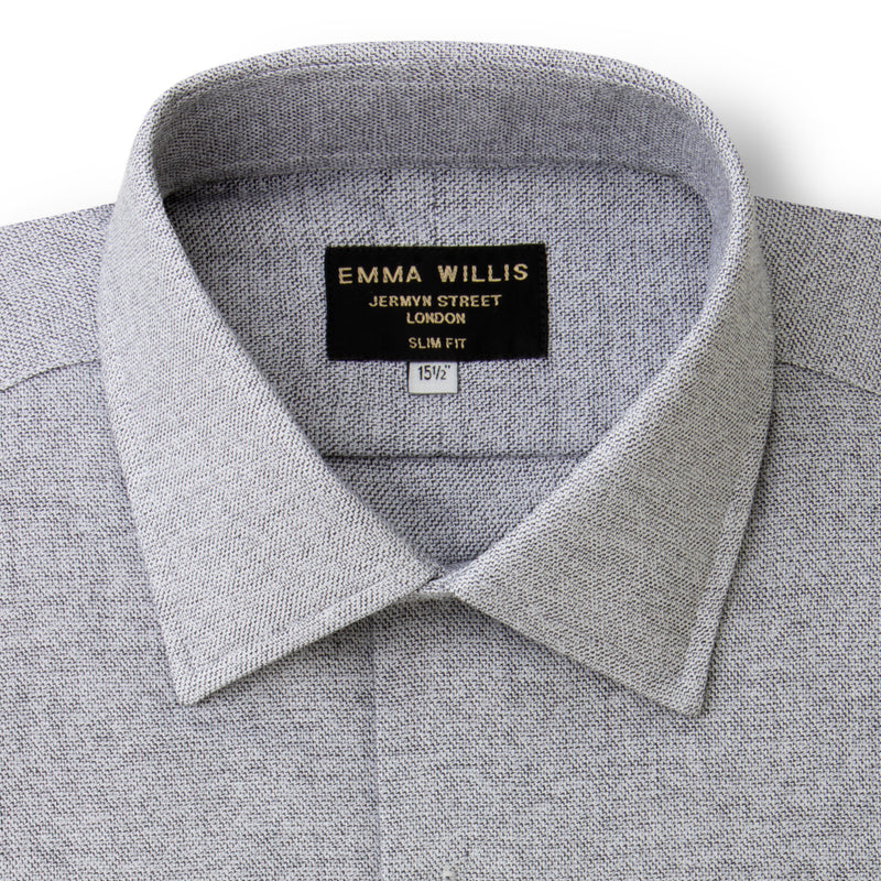 Pewter Weave Brushed Cotton shirt - Bespoke