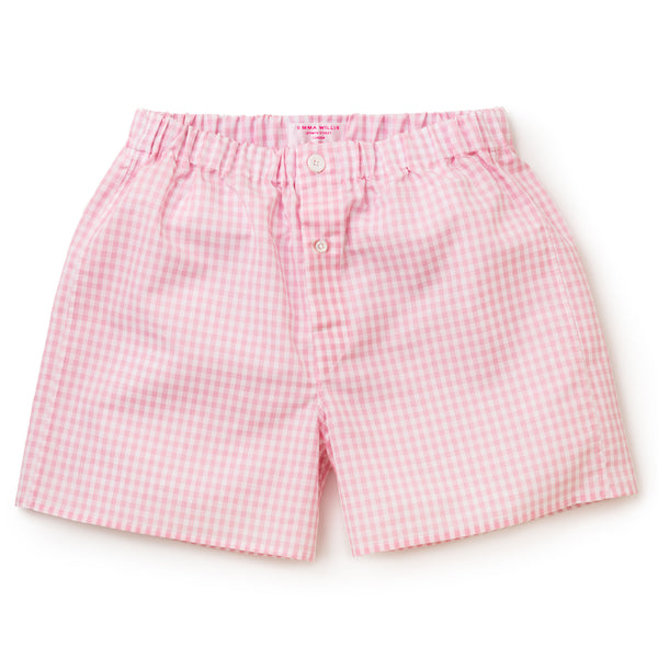 Pink Gingham Zephirlino Boxer Shorts