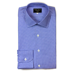 Royal Blue Houndstooth Check Cotton Shirt
