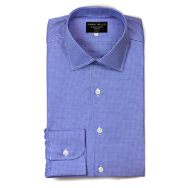 Royal Blue Houndstooth Check Cotton shirt - Bespoke