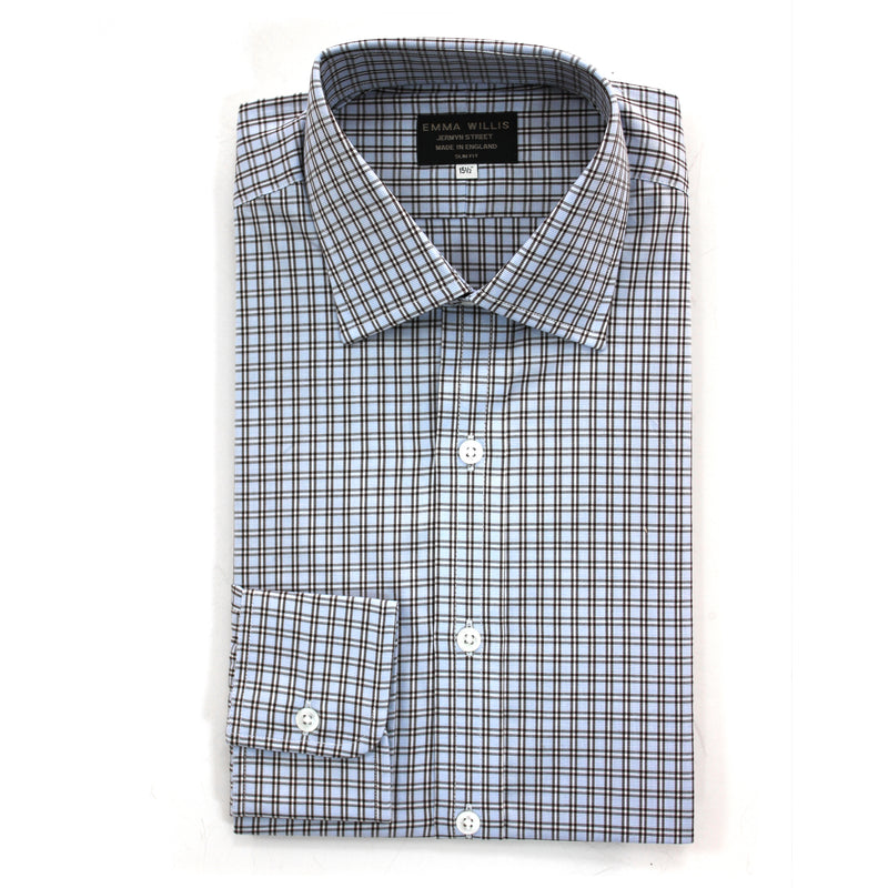 Brown/Blue Check Cotton Shirt - Slim Fit