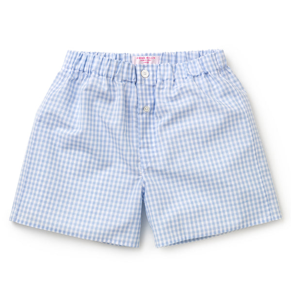 Sky Gingham Zephirlino Boxer Shorts