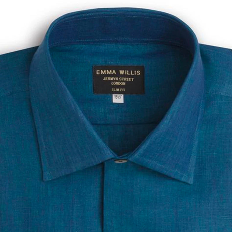Teal Linen Shirt - Bespoke - New