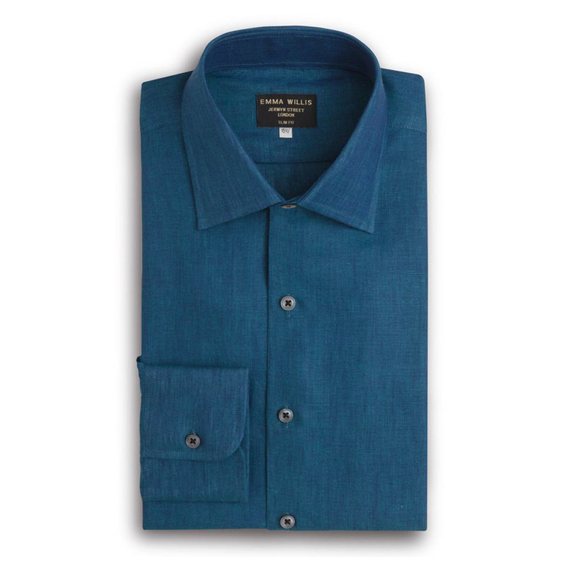 Teal Linen Shirt - Bespoke Pattern - New