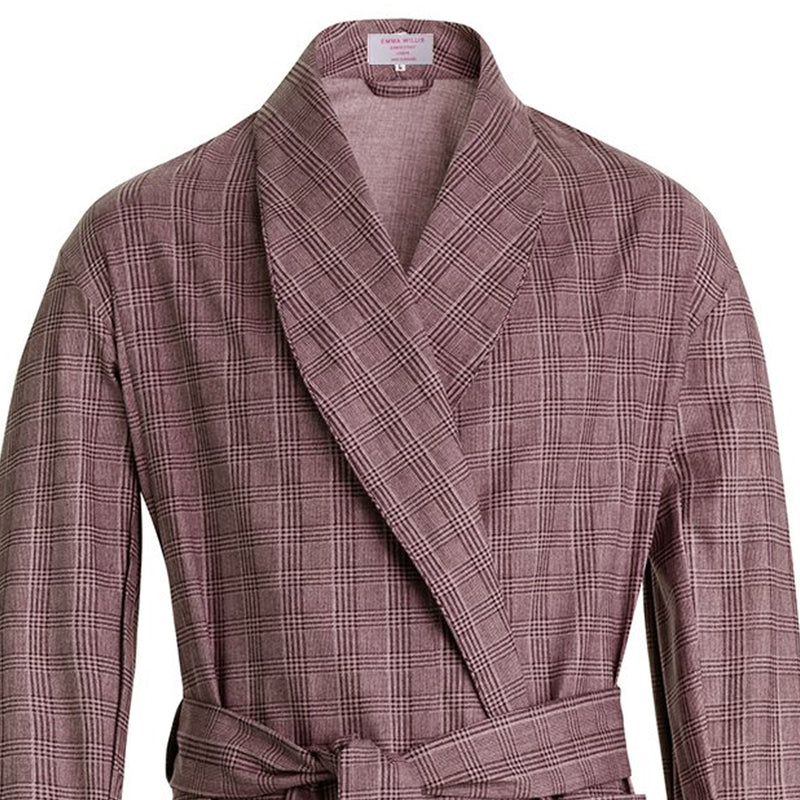 Walnut Graph Check Brushed Cotton Dressing Gown