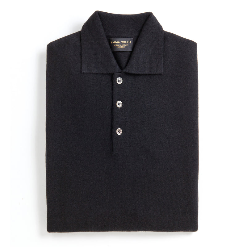 Black Cashmere Polo Jumper