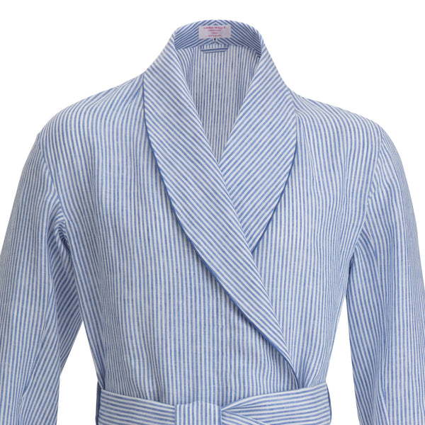 Blue Bengal Stripe with Blue Piping Linen Dressing Gown