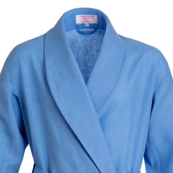 Blue Lagoon Linen Dressing Gown