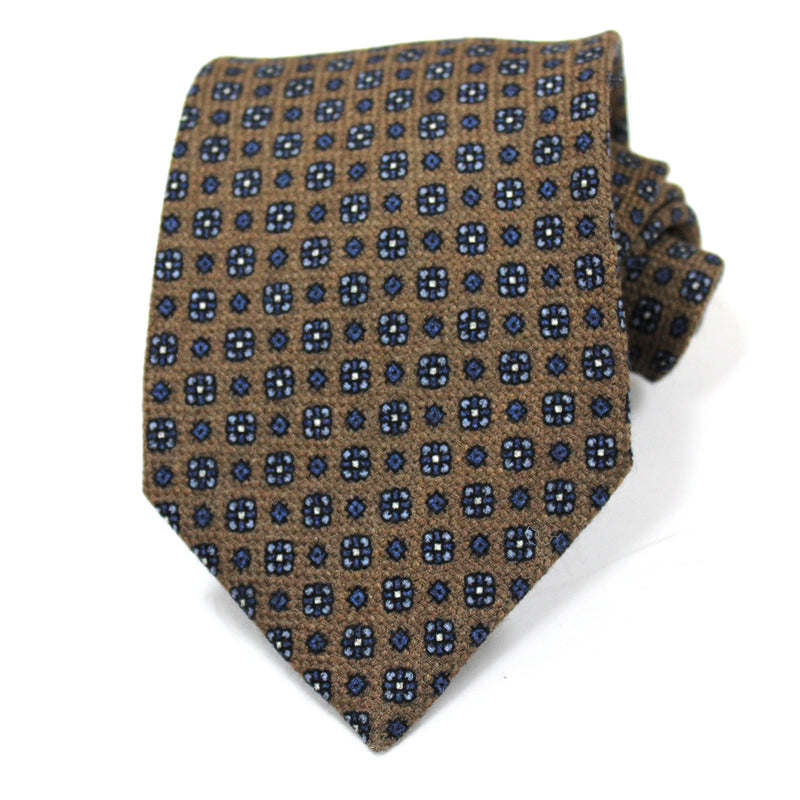 Brown Floral Tile Wool Tie