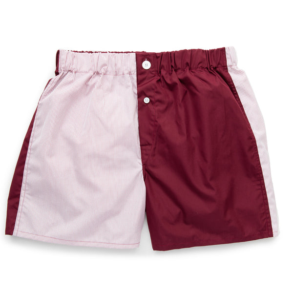 Claret Patchwork Superior Cotton Boxer Shorts