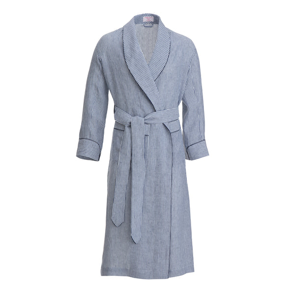 Navy Bengal Stripe with Navy Piping Linen Dressing Gown