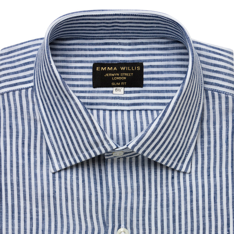 Navy Bengal Stripe Linen Ready to wear shirt