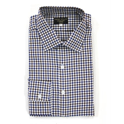 Brown/Navy Check Brushed Cotton Shirt - Slim Fit