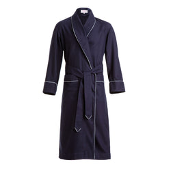 Navy Lanella with Grey Piping Dressing Gown