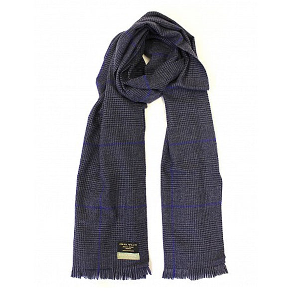 Navy Prince of Wales Wool Scarf