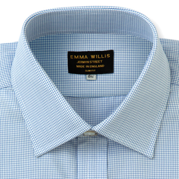 Navy Windowpane Check Cotton Shirt