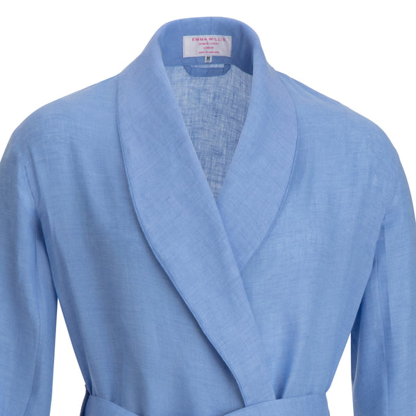Pale Blue Linen Dressing Gown
