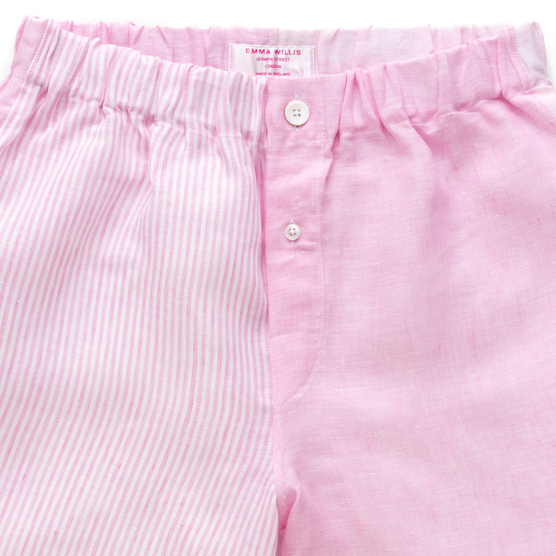 Pink and Pink Bengal Stripe Linen Boxer Shorts