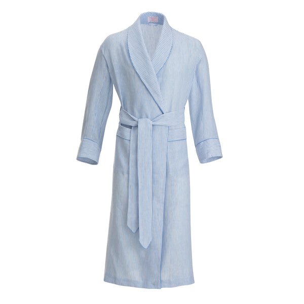 Sky Bengal Stripe with Sky Piping Linen Dressing Gown