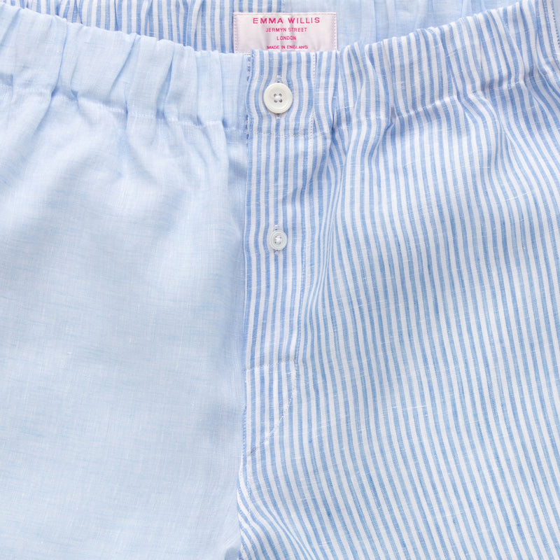 Light Blue and Sky Bengal Linen Boxer shorts