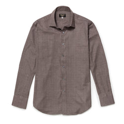 Walnut Prince of Wales Check Brushed Cotton shirt
